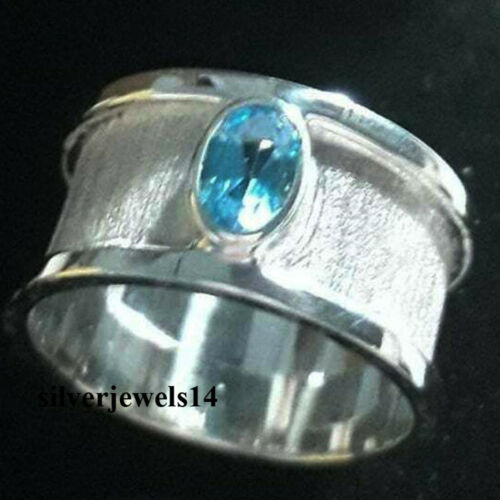 Blue Topaz Stone 925 Sterling Silver Band Ring Statement Everyday Ring kd9272