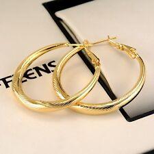 18k Yellow Gold Filled Carved Earrings Women Ring Hoop 30mm GF Jewelry