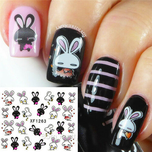 1 Sheet Ongle Nail Art l'eau Water Decals Transfers Sticker Mignon Rabbit Lapin