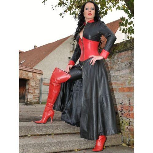 lacets rouge avec en rouge M40 noir noir robe cuir Us10 cuir en Robe gaine en à cuir sexy 8wTXqXxH
