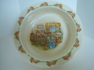 Royal-Doulton-Bunnykins-Bedtime-Cereal-Soup-Porridge-Childs-Bowl-England-EUC
