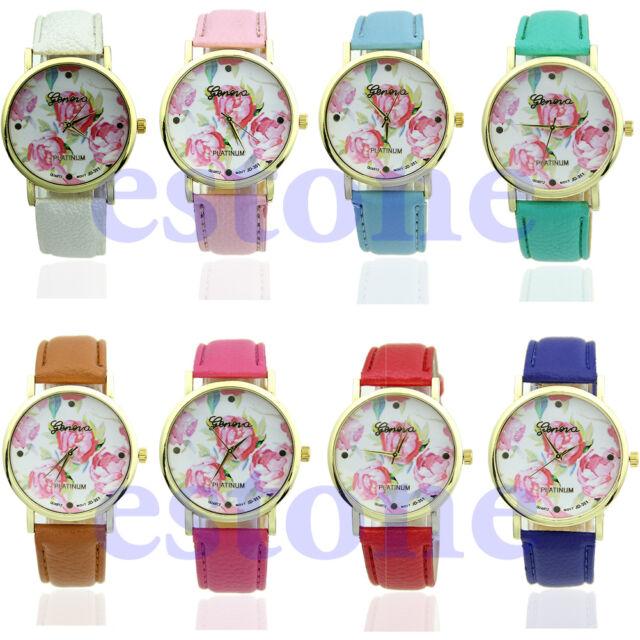 Women's Fashion Rose Flower Watch Geneva Faux Leather Quartz Watches