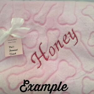 Personalized Pet Textured Blanket Cat Or Dog 38 X 26 Pink Grey