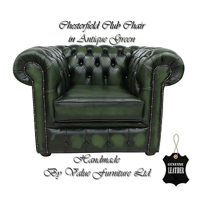 Chesterfield Traditional Club Lounge Chair In Antique Green Genuine Leather UK