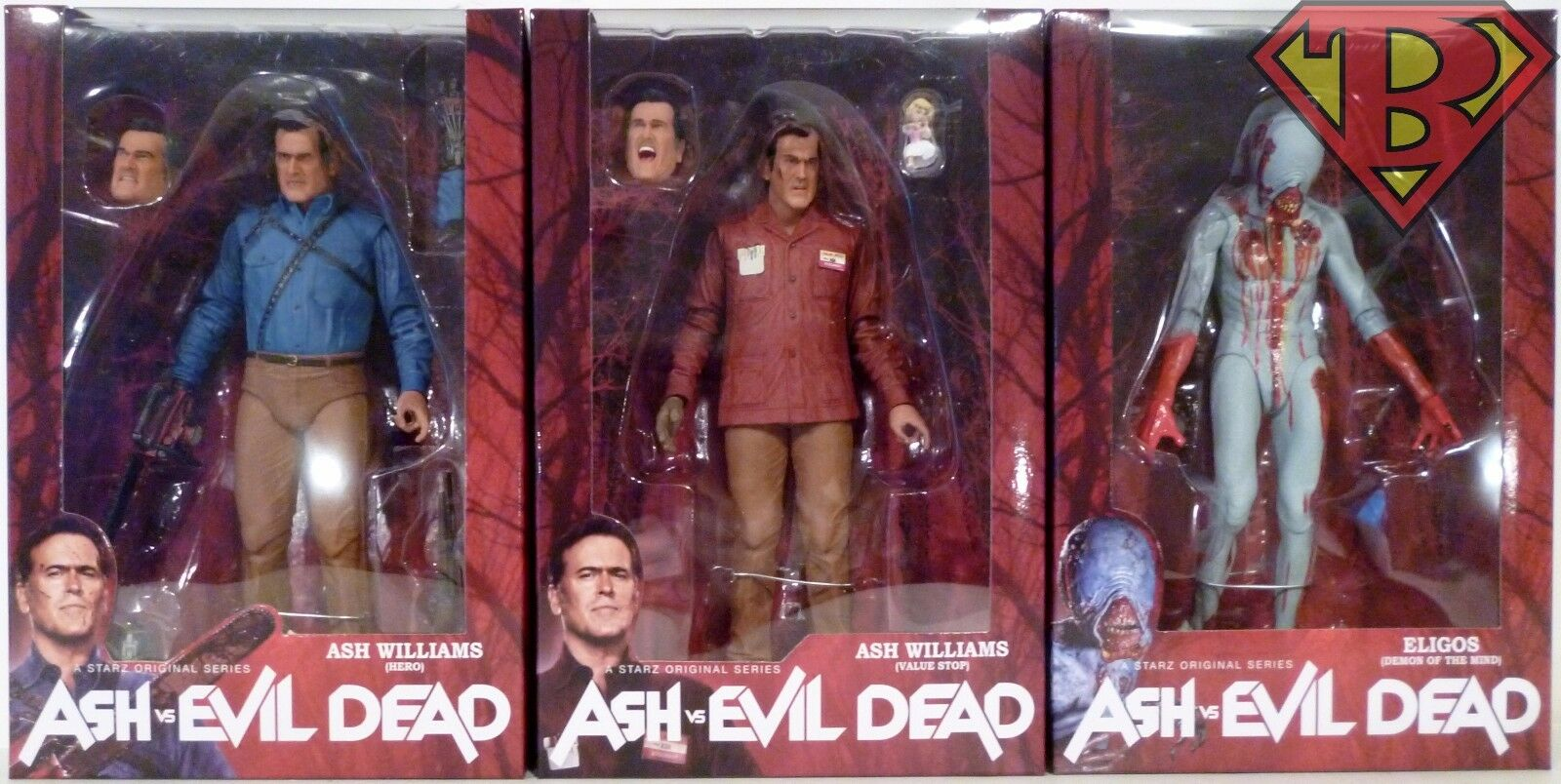 ASH vs EVIL DEAD 7  Scale Starz TV Action Figures Set of 3 Series 1 Neca 2016