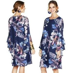 NEW-COVER-Dress-Size-10-12-14-16-18-Navy-Floral-Ruffle-Bell-Sleeve-Tunic-Shift
