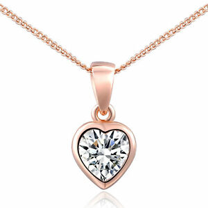 18K Rose Gold Elegant  Plated  Inlaid Austrian Crystal Heart Pendant Necklace