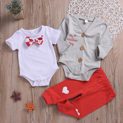 US Valentine/'s Day Baby Boy Gentleman Set Bowknot Romper Coat Trousers Clothes