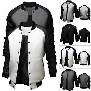 herren warm winter lederjacke baseball moto jacke parka. Black Bedroom Furniture Sets. Home Design Ideas