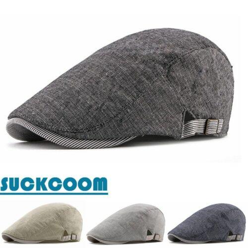 Men Women Cotton Thin Summer Beret Casual Solid Ivy Flat Cap Adjustable Sun Hats
