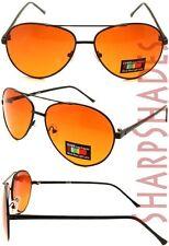 Aviator Sunglasses with Amber Blue Blocker Driving Lens