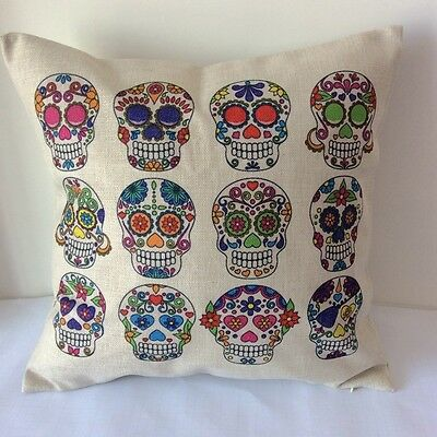 Vintage Sugar Skull Cotton Linen Cushion Cover Throw Pillow For Home Decor B10