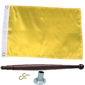 12 X 18 Solid Yellow Port Clearance Flag Kit For Boats