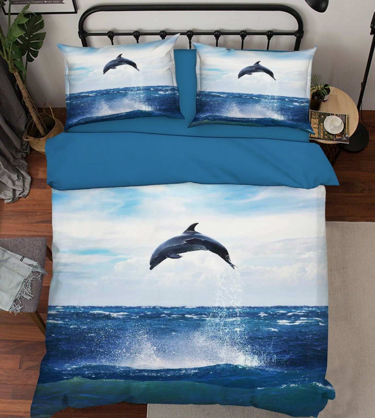3D Dolphin Sea Sky 88 Bed Pillowcases Quilt Duvet Cover Set Single King UK Lemon