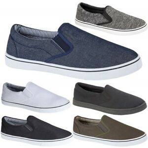 Mens-Casual-Canvas-Shoes-Plimsolls-Pumps-Skates-Slip-On-Trainers-Size-7-12-New