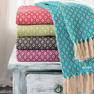 Recycled-Cotton-Woven-Diamond-Sofa-Settee-Bedspread-Fringe-Blanket-Throw-130x180