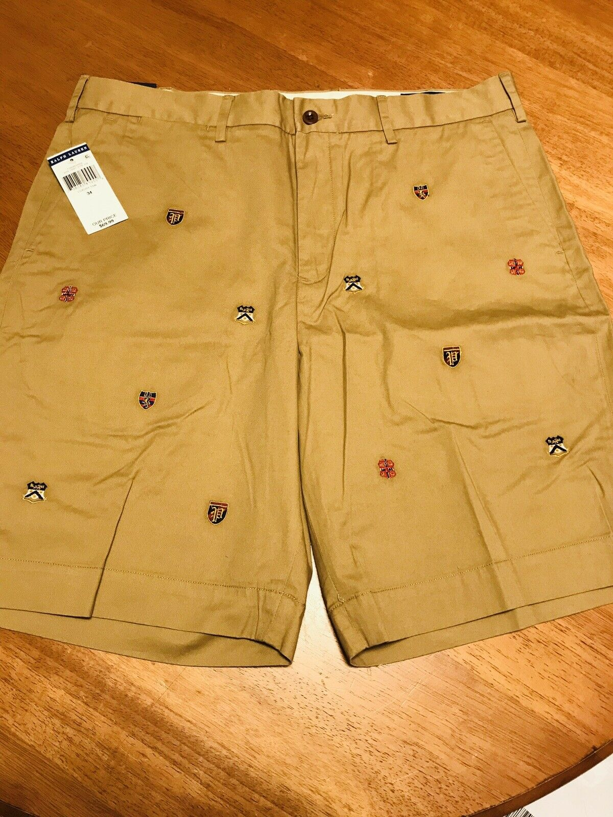 Polo Ralph Lauren Luxury Varsity Crests Shield Embroidered Shorts   Size 34