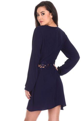 AX Paris Womens Mini Dress Navy Crochet Waist Long Sleeved Ladies Casual