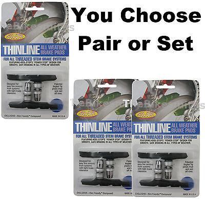 Kool Stop Thinline V-Brake Threaded Black KS-TLTB Mountain Brake Pads Pair