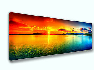 Colorful Sea Sunset Photo Panoramic Picture Canvas Print Home Decor Wall Art