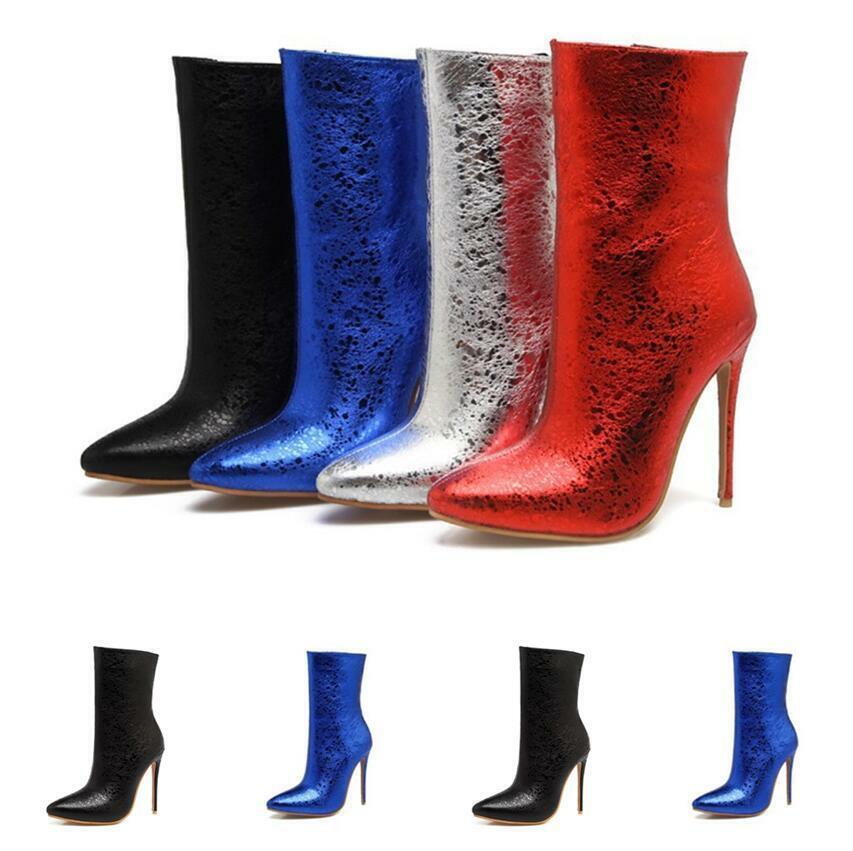 Party Damenstiefeletten Ankle Stiefel 35-48 Pumps Glitzer Sehr Hoher Stilettos Neu