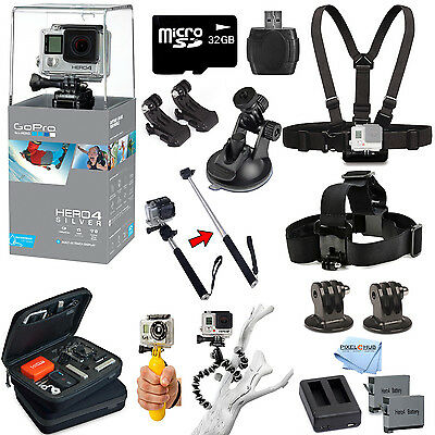 GoPro HERO4 Silver Edition All In 1 PRO Kit Mount Bundle For All Occasions! New!