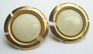 Objectif Boucles D'oreilles à Clips Couleur Or Grand Cabochon Nacré Bijou Vintage 5248