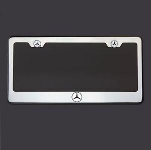 Stainless Steel Mercedes-Benz Logo Black Letter Laser Etched License Plate Frame