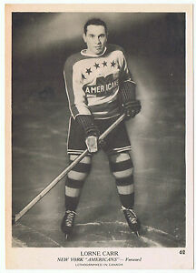 1939-40-O-Pee-Chee-V301-1-Lorne-Carr-62-New-York-Americans-5-x-7-card-Great