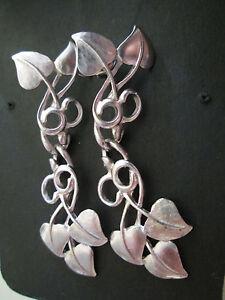 Image Is Loading Vintage Avon Leaf Vine Pierced Earrings Silverplate With