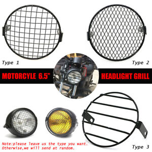 Retro-6-5-034-Metal-Moto-Phare-Lampe-Mesh-Grille-Couvercle-Masque-Pour-Harley-Honda