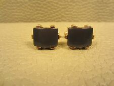 Vintage Grey Lucite Prong Set Yellow Gold Plated Cuff Links