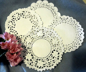100 Pack 5 Inch Round White Normandy Lace Paper Doilies