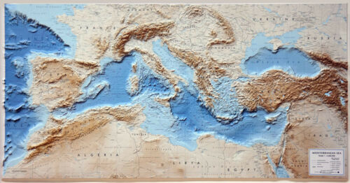 MAR MEDITERRANEO CARTA IN RILIEVO [124X64 CM] [CARTINA/MAPPA/POSTER] L.A.C.