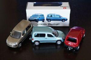 Lot 3 Miniatures CITROEN BERLINGO Bleu/Rouge/Sable NOREV 1/64  + Boites