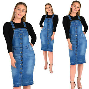 NEW-WOMEN-039-S-LADIES-SEXY-PINAFORE-DUNGAREE-DRESS-DENIM-BLUE-WASH-UK-SIZE-8-TO-16