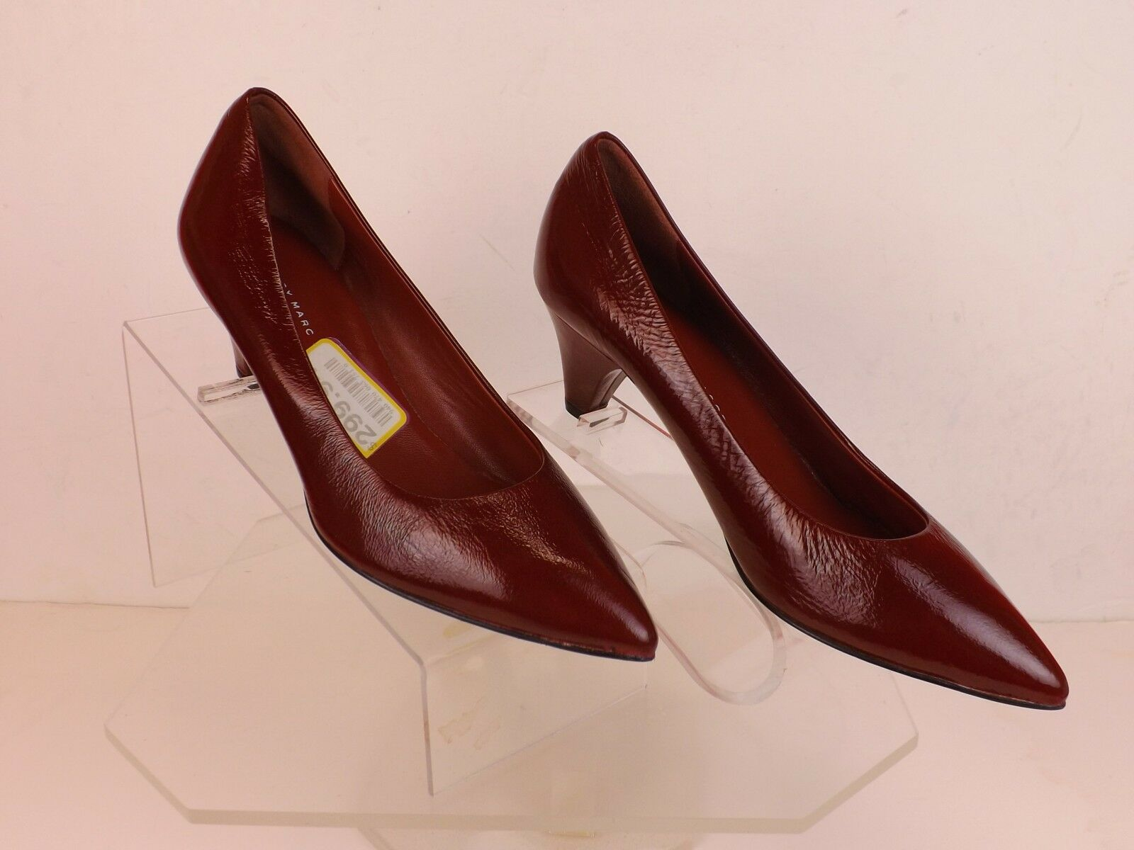 NIB MARC BY MARC JACOBS BURGUNDY LEATHER LOW HEEL CLASSIC PUMPS 37.5