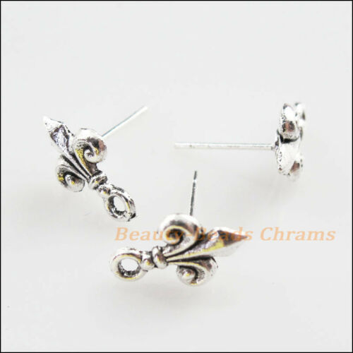 """12Pcs Tibetan Silver Tone /""""Fleur de lis/"""" Wire Earrings Hooks Findings 9x14mm"""