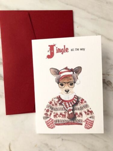 Christmas Card Australian Animals Hipster Wallaby Ugly Jumper Quirky Funny Pk 4