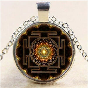 Sri-Yantra-Photo-Cabochon-Glass-Pendant-Tibet-Silver-Chain-Necklace-Jewelry-Gift