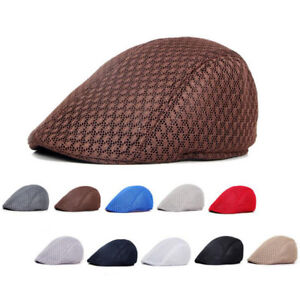 a12013673ee8c Mens Hollow Mesh Newsboy Gatsby Cap Ivy Hat Golf Driving Summer Sun ...