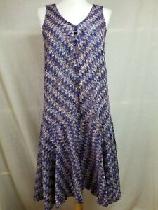 73aeebb8b69 Maeve Westwater Knit A-Line Dress Sz S Sleeveless Zig-Zag Blue ...