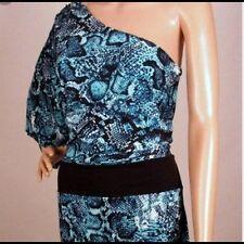 BCBG MAXAZRIA Blue Snake Print One Shoulder Dress Size L/XL NWT $148