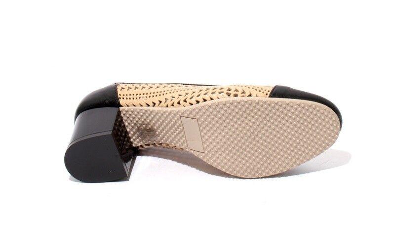 Isabelle 173r Beige Beige Beige Black Perforated Leather Heel Round Toe Pumps 37.5   US 7.5 cdf94c