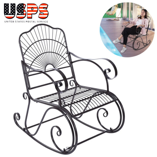 Incredible Solid Rocking Chair Porch Rocker Indoor Outdoor Deck Patio Backyard Iron Black Creativecarmelina Interior Chair Design Creativecarmelinacom