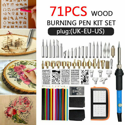 71Pcs 60W Wood Burning Pen Kit Set Stencil Soldering Tips Tools Pyrography  Craft | eBay