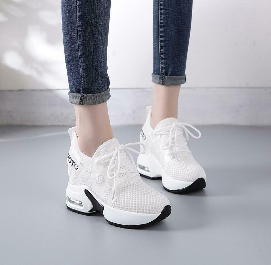 Ladies Womens Lace Up Hidden Wedge Trainers Platform Chunky Sports Casual shoes