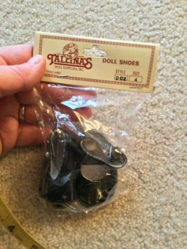 Doll Shoes Size 4 Style 002 Solid Black Pearl Button Closure New Old Stock Talli