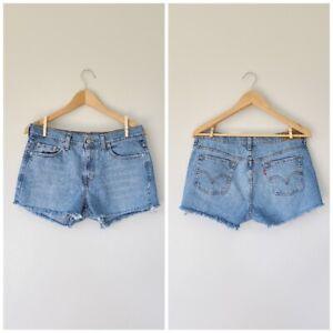 Levi-039-s-505-High-Waist-Frayed-Cut-Off-Short-Shorts-Size-6-Waist-32-034
