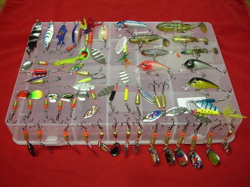 Fishing Lure Set Spinners Soft Baits Plugs Spoons 50 Pc